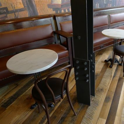 Reclaimed Skip-Planed Oak Flooring ~ Starbucks, Harvard Square, Cambridge, Massachusetts