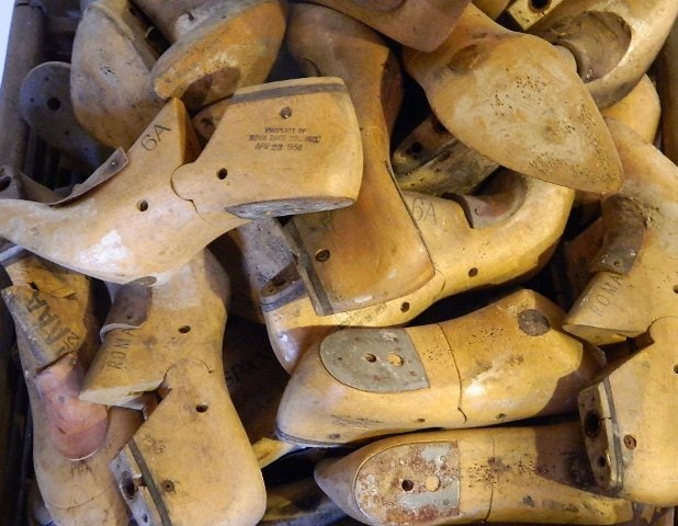 Antique hardwood shoe lasts salvaged from a Lawrence, Massachusetts mill building.