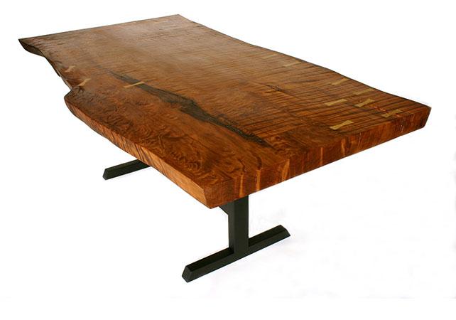 Antique fine grain redwood slab table with live edge. Jamie Cumming ~ Loki Custom Furniture