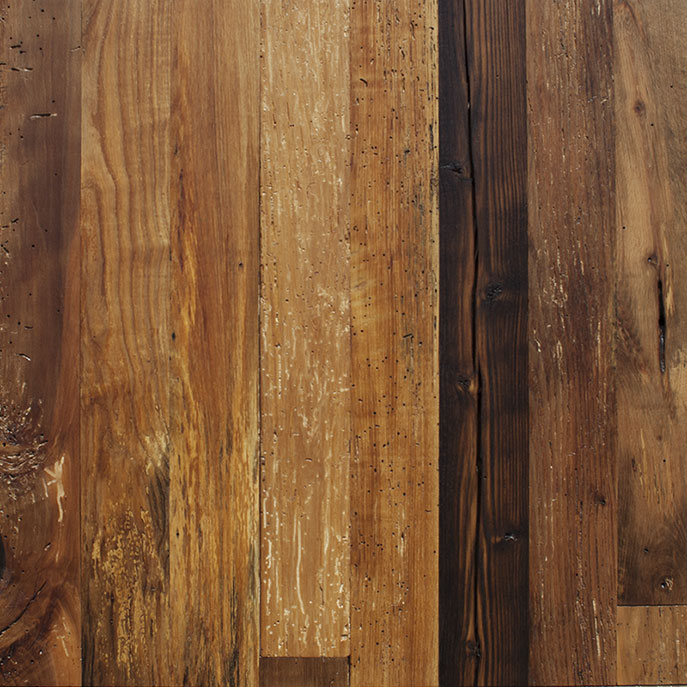 Forest Blend Mixed Hardwoods Bright Reclaimed Paneling - Waterlox Tung Oil Finish