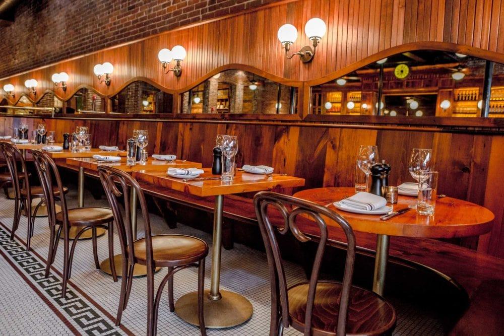 Capo Restaurant Reclaimed White Pine Banquette & Tables