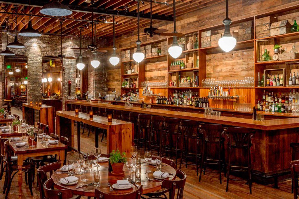 Capo Restaurant Reclaimed Heart Pine Bar