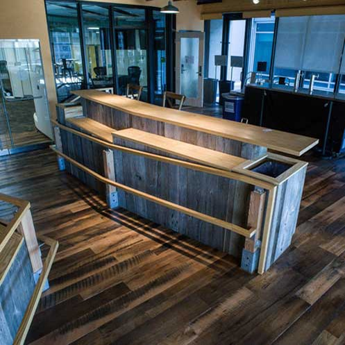 Reclaimed Skip-Planed Oak Flooring ~ Venture Café at Cambridge Innovation Center, Kendall Square, Massachusetts