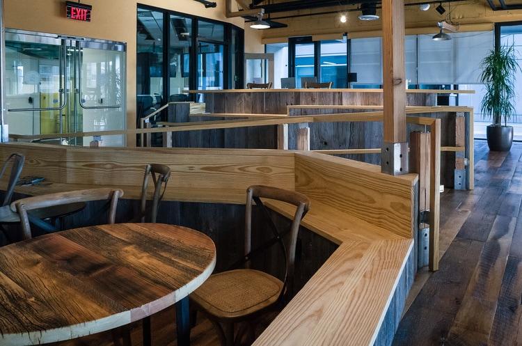 Reclaimed Heart Pine Benches ~ Venture Café at Cambridge Innovation Center, Kendall Square, Massachusetts