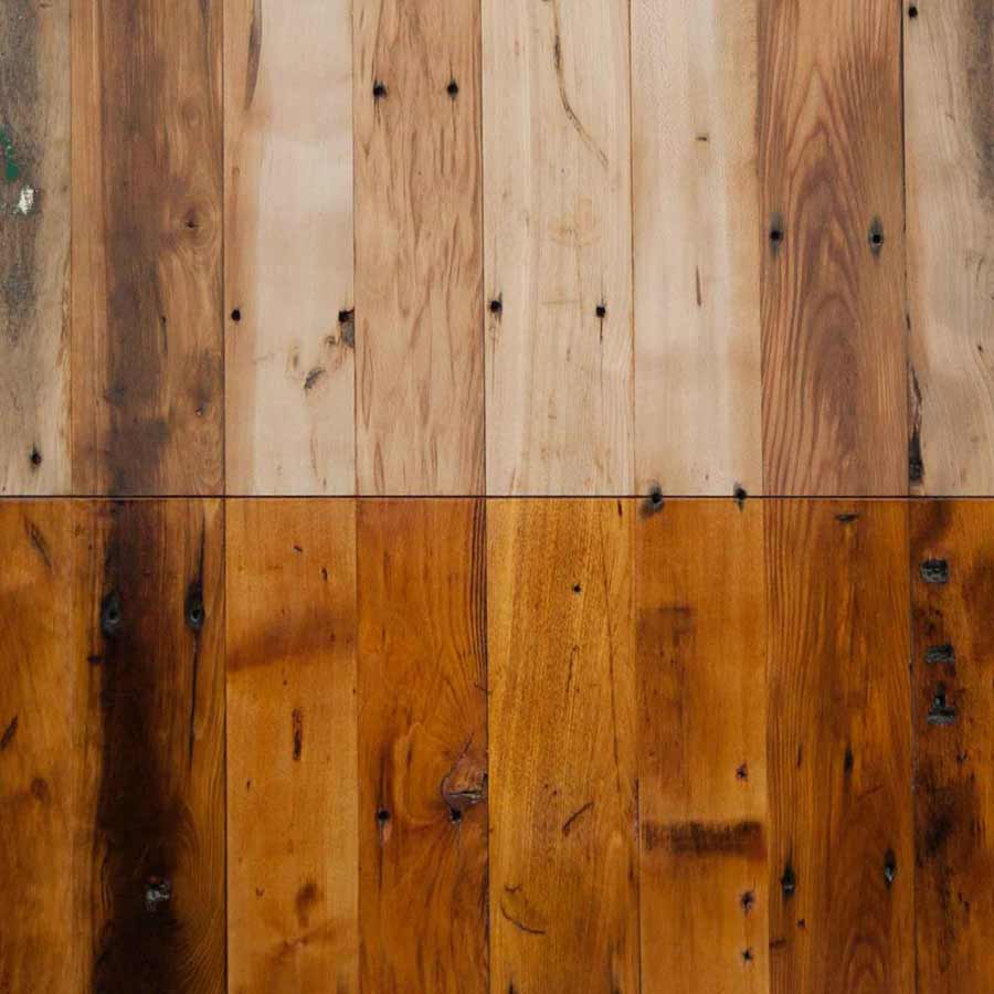 Reclaimed Factory Maple Flooring. Unfinished and Waterlox Original tung oil finish.