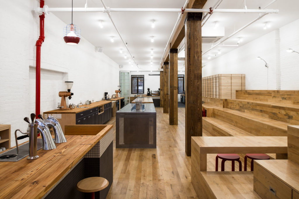 Reclaimed Factory Maple Flooring & Paneling ~ Counter Culture Coffee, New York City