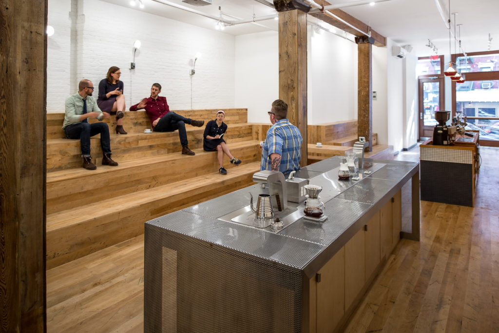Reclaimed Factory Maple Flooring ~ Counter Culture Coffee, New York City