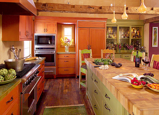 Reclaimed Hand-Hewn Beams & Bamboo Counter ~ Private Residence
