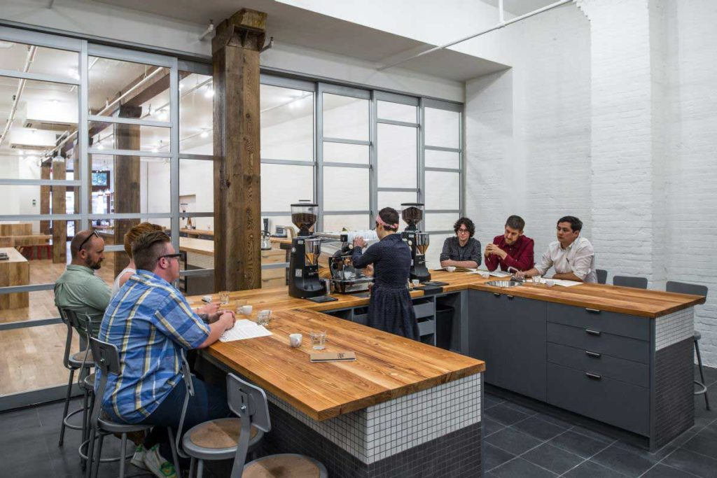 Reclaimed Heart Pine Countertops ~ Counter Culture Coffee, New York City
