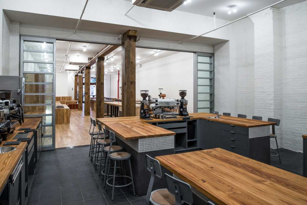 Reclaimed Heart Pine Counters ~ Counter Culture Coffee, New York City