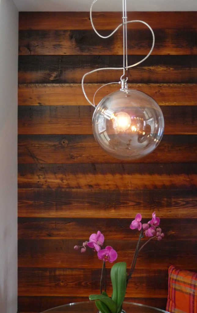 Reclaimed Skip-Planed Heart Pine Accent Wall ~ Private Residence