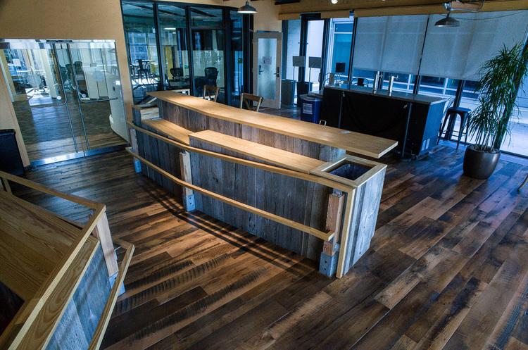 Reclaimed Skip-Planed Oak Flooring in a Cambridge, MA café.