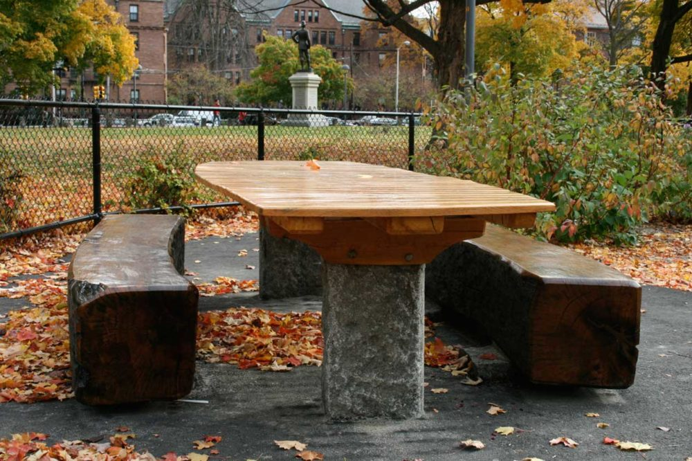 Reclaimed Southern Live Oak Benches ~ Cambridge Common, Massachusetts