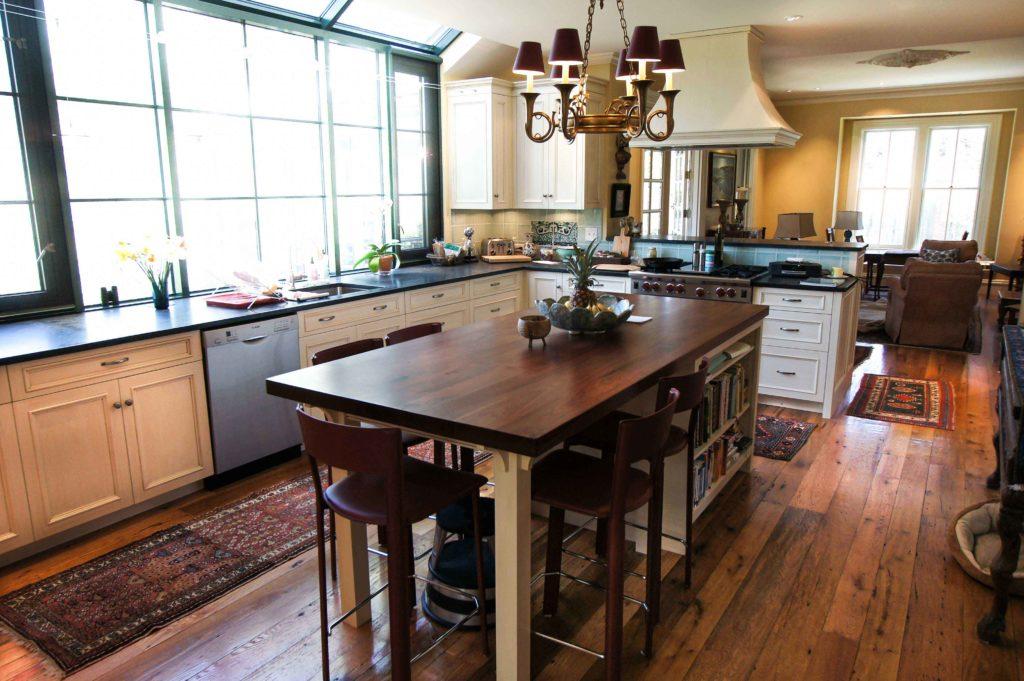 Reclaimed Red & White Oak Flooring & Reclaimed Walnut Countertop Kitchen Island ~ Private Residence, Hingham, Massachusetts