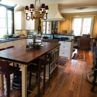 Reclaimed Red & White Oak Flooring & Reclaimed Walnut Countertop Kitchen Island ~ Private Residence, Hingham, Massachusetts