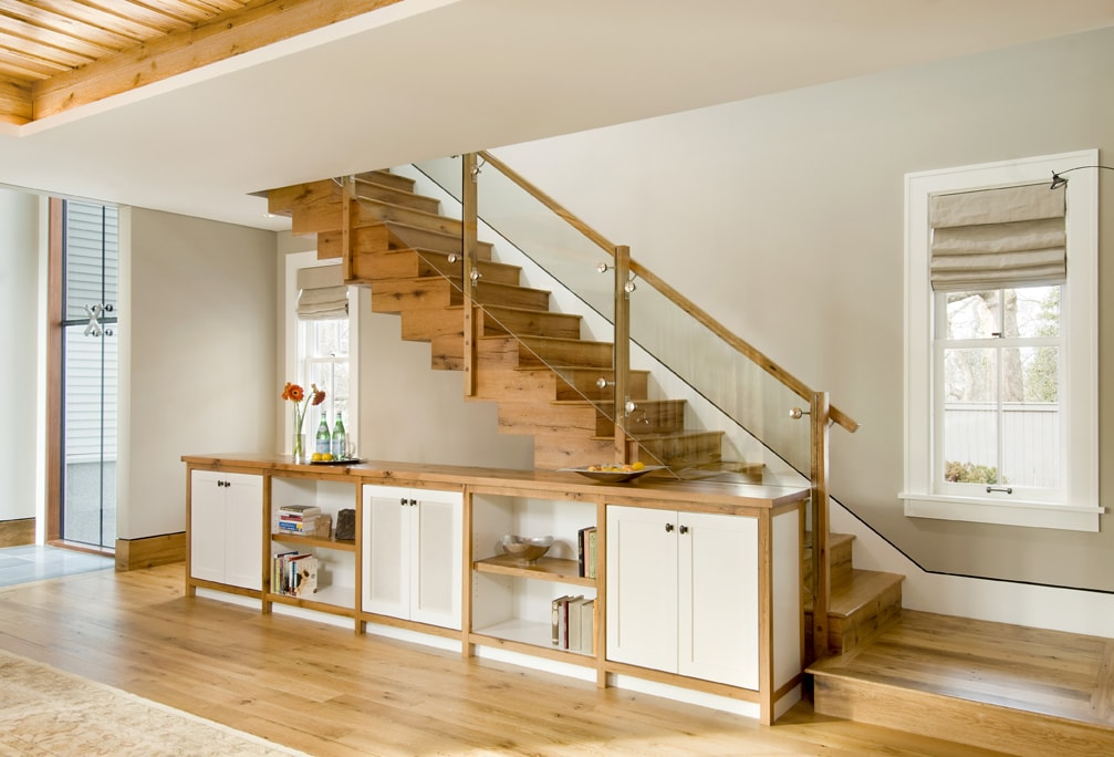 Reclaimed white oak stair treads and custom milling for a private residence.