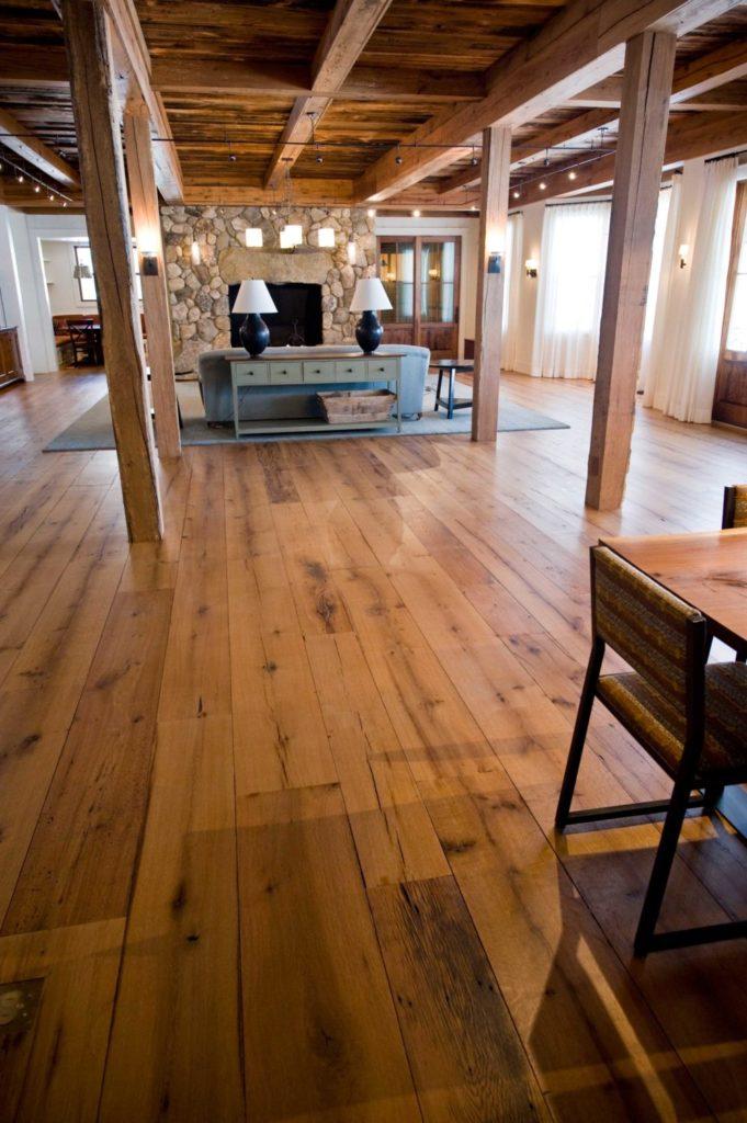 Reclaimed Wide Plank White Oak Flooring ~ Maine Private Residence