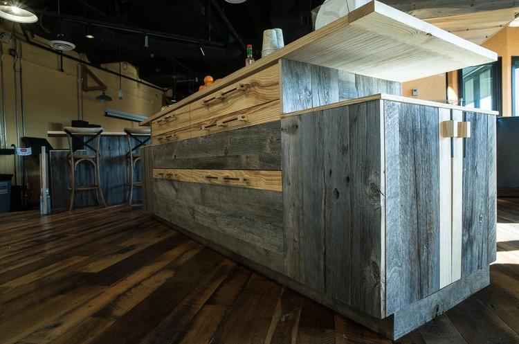 Reclaimed Barn Board Cabinets ~ Venture Café at Cambridge Innovation Center, Kendall Square, Massachusetts