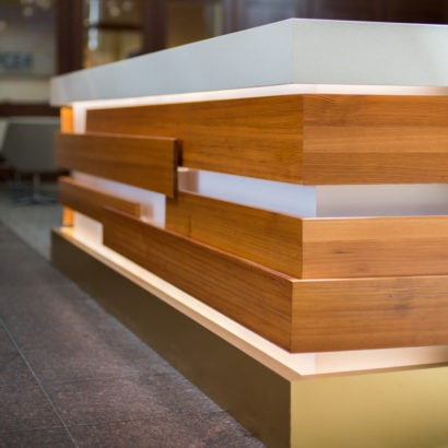 Heart Pine Millwork In Commercial Lobby Space, Cambridge, MA
