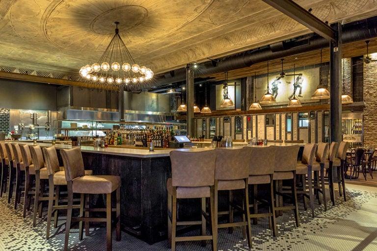 Reclaimed Charred Wood at Ledger Restaurant in Salem, MA