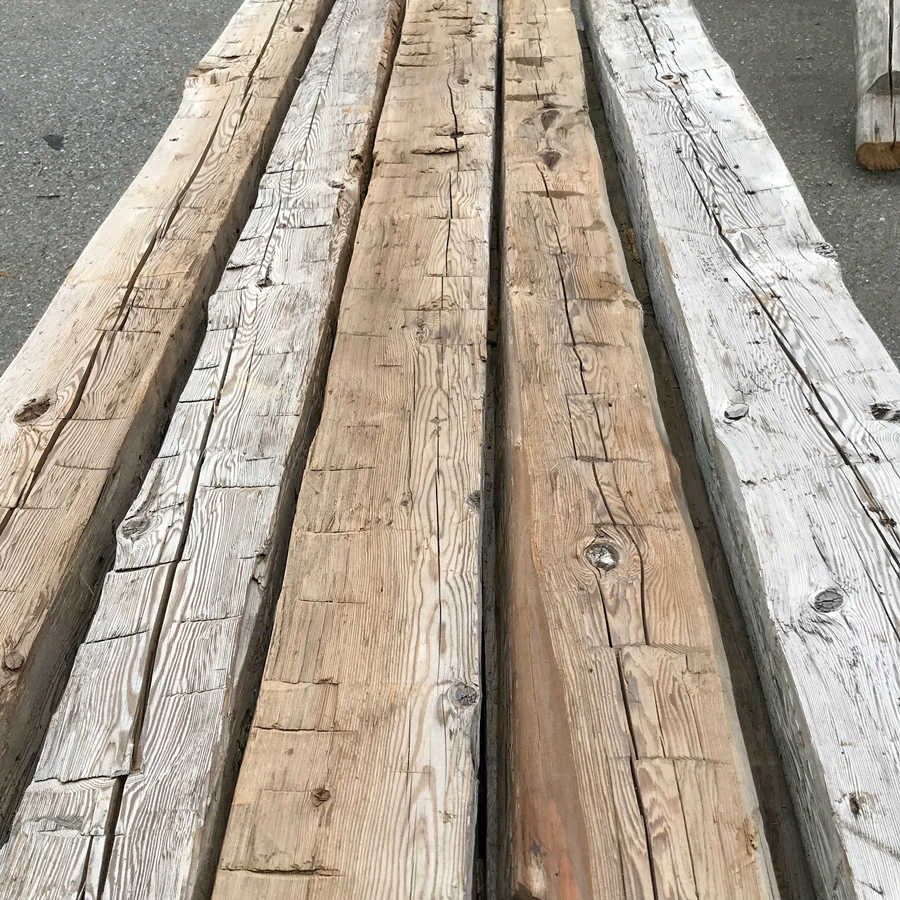 Antique Salvaged Hemlock Hand-Hewn Mantels