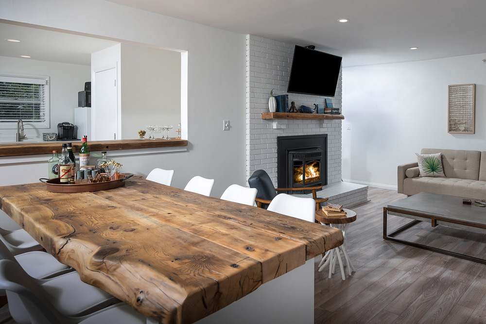Coastal Maine Hotel With Reclaimed Hemlock Counters, Island Tops, Shelving and Mantles