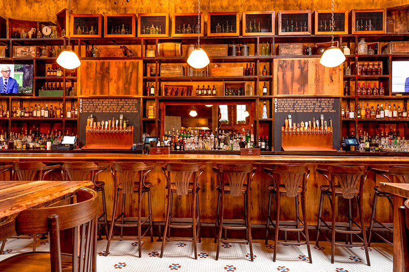 Reclaimed Hardwood Paneling, Reclaimed Oak Bar, and Reclaimed Spruce Tables, Monument Restaurant, Charlestown, MA