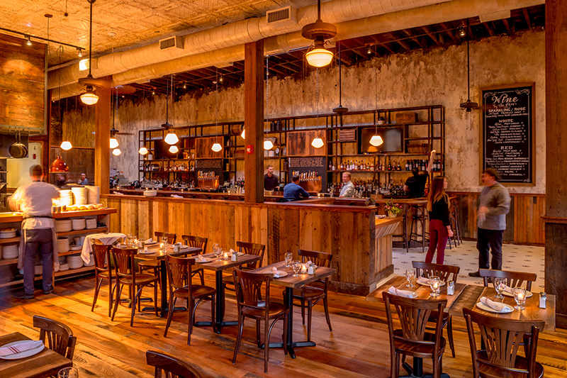 Reclaimed Hardwood Flooring and Reclaimed Spruce Tables, Monument Restaurant, Charlestown, MA