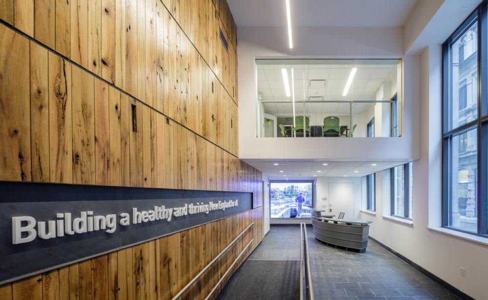 Rustic Oak Reclaimed Wood Paneling in Boston Office Building