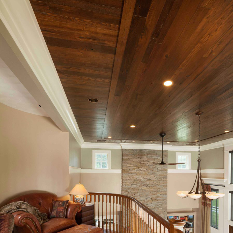 Reclaimed American Chestnut Ceiling Paneling ~ Private Residence in CT