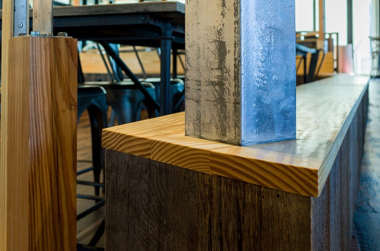 Reclaimed Heart Pine & Salvaged Barn Board ~ Venture Café at Cambridge Innovation Center, Kendall Square, Massachusetts