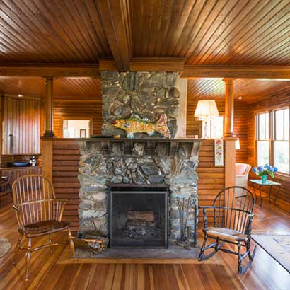 Custom Profile Reclaimed Heart Pine Ceiling Paneling ~ Private Residence, Maine