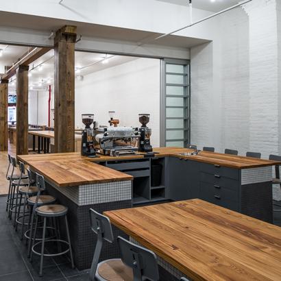 Reclaimed Heart Pine Counters in Coffee Tasting Room
