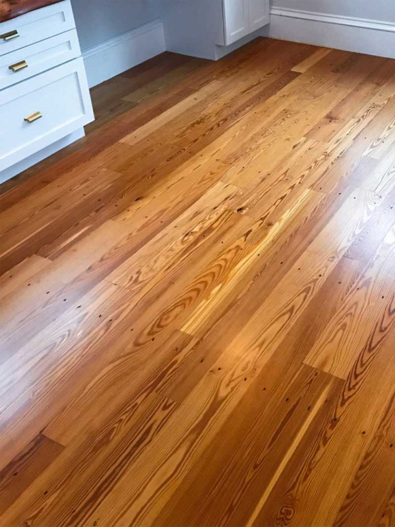 Reclaimed Heart Pine Flooring In Home Office