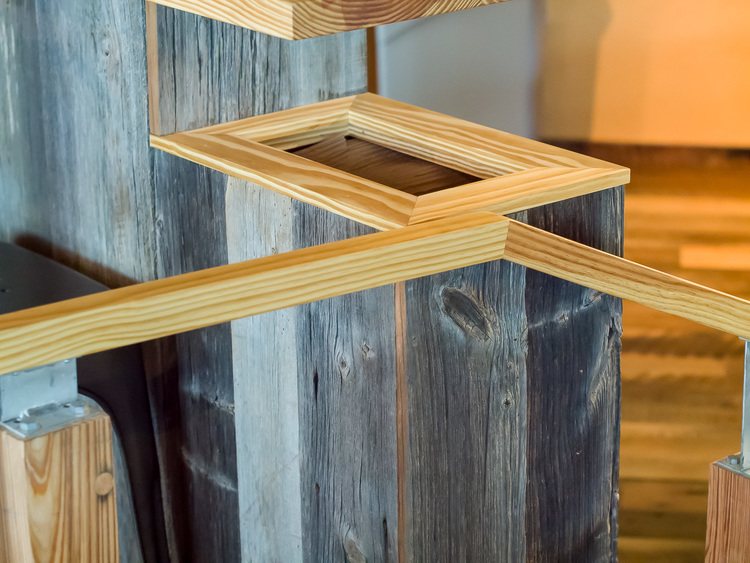 Reclaimed Heart Pine Railings ~ Venture Café at Cambridge Innovation Center, Kendall Square, Massachusetts