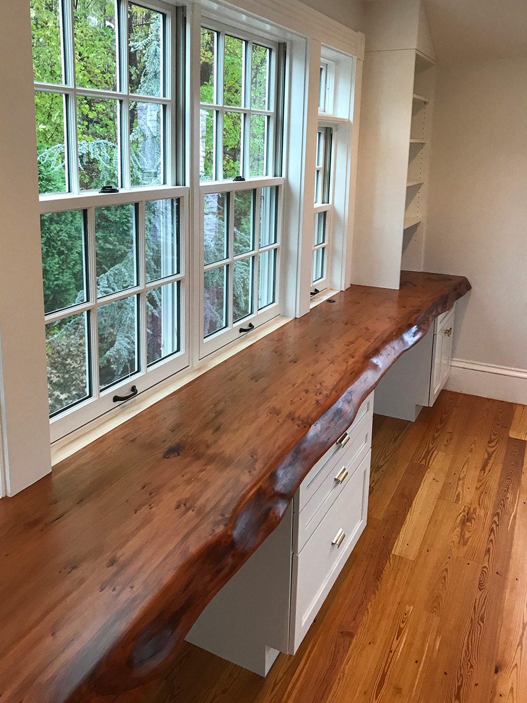 Salvaged Redwood Slab Desk And Reclaimed Heart Pine Flooring In Home Office