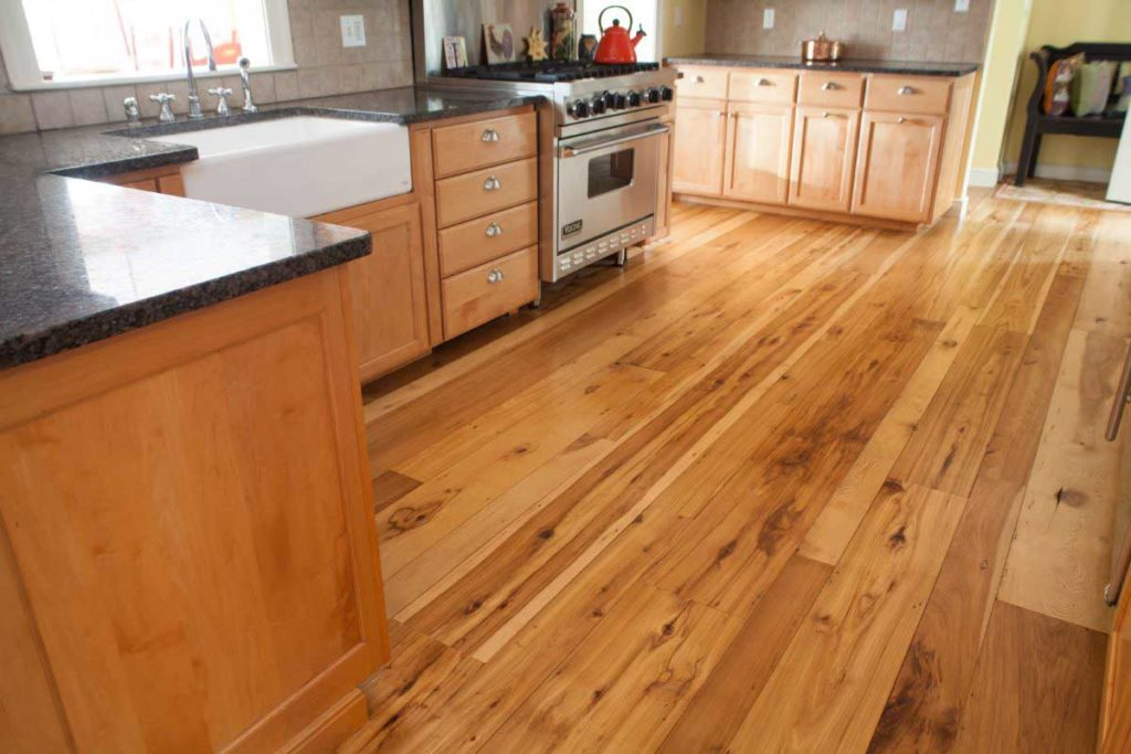 Reclaimed Hickory Flooring in a Weston, MA kitchen. Water-based polyurethane finish.