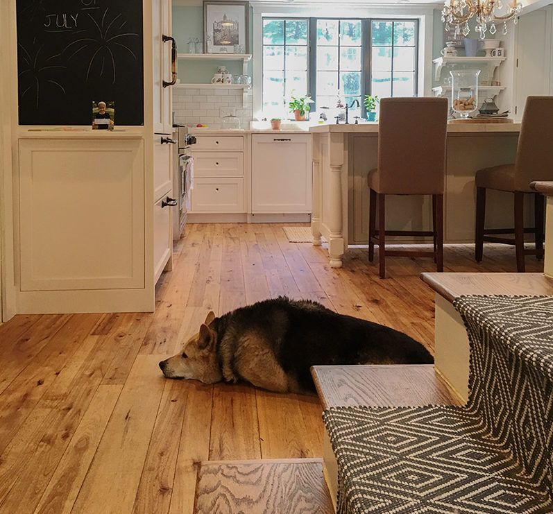 Reclaimed Hickory Flooring in Kitchen