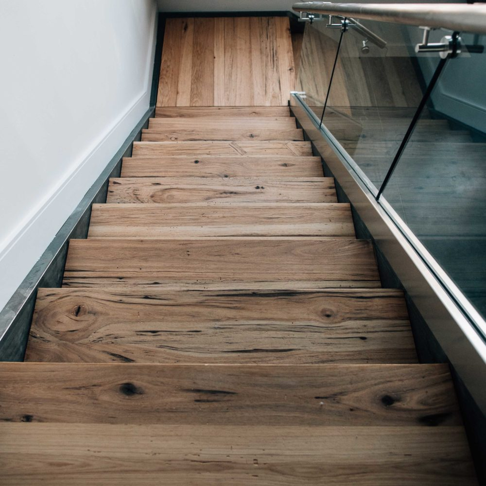 Reclaimed Hickory Treads Installed In Steel Staircase by NS Builders in Boston