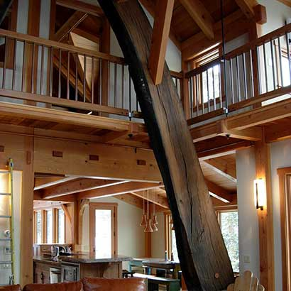Reclaimed Live Oak Beams in Timber Frame