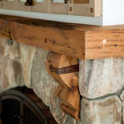 Custom-Milled Reclaimed Oak Mantel