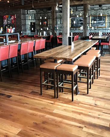 Reclaimed Oak Flooring and Tables at Brick & Beam Tavern in Quincy, MA