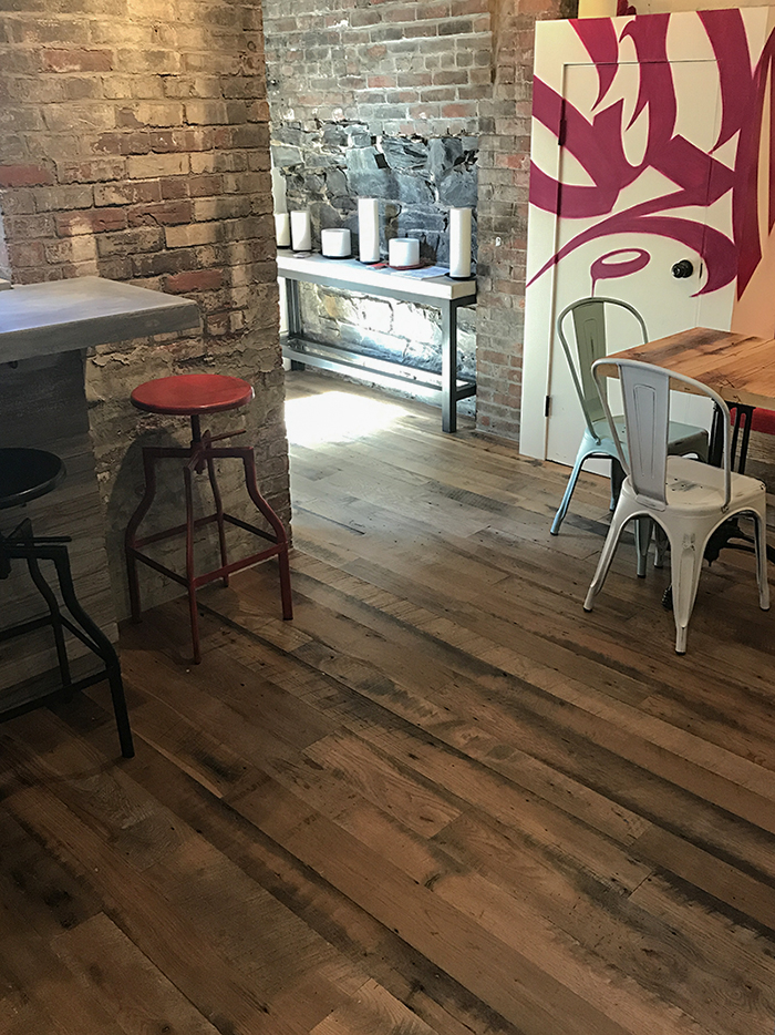 Reclaimed Skip-Planed Oak Flooring - Boston Restaurant