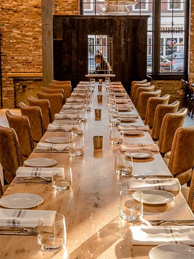 Reclaimed Oak Wood Table at Ledger Restaurant in Salem, MA