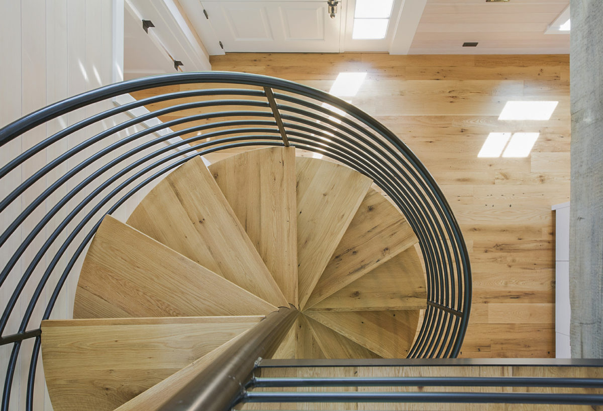 Reclaimed custom-milled oak stair treads for a Maine private residence.