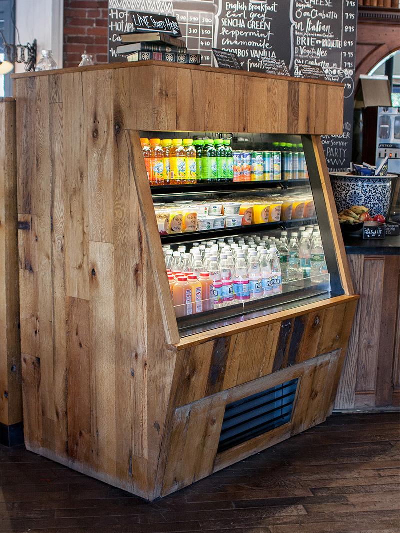 Reclaimed Post & Beam Oak Paneling in Coffee House