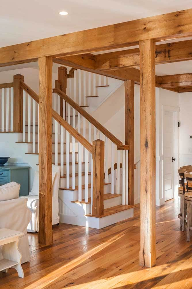Reclaimed Red & White Oak Flooring, Stairs, and Beam Wraps
