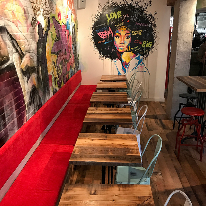 Reclaimed Skip-Planed Spruce Tables and Oak Flooring - Boston Restaurant