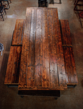 Reclaimed Spruce Wood Table & Benches