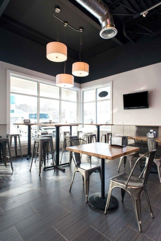 Reclaimed Barn Board Wall Paneling & Reclaimed White Oak Tables ~ Pomodori Restaurant, Georgetown, Massachusetts